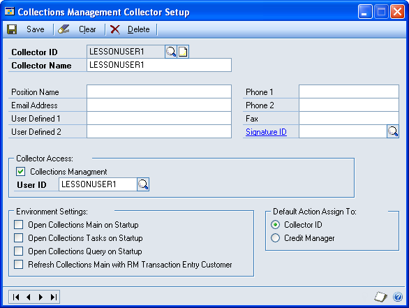 CHAPTER 1 COLLECTIONS MANAGEMENT SETUP Setting up a collector ID Use the Collections Management Collector Setup window to create a collector ID and define individual settings for each ID.