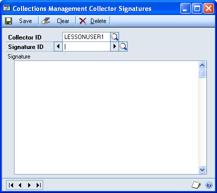 CHAPTER 1 COLLECTIONS MANAGEMENT SETUP Setting up a collector signature Use the Collections Management Collector Signatures window to set up signatures that can be used when printing collection