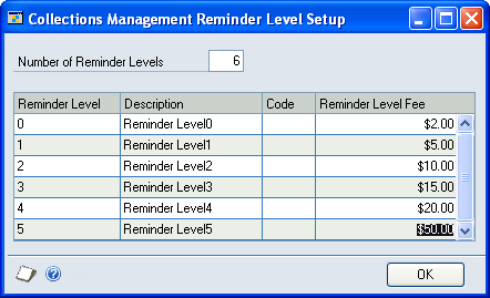 CHAPTER 1 COLLECTIONS MANAGEMENT SETUP Setting up reminder levels Use the Collections Management Reminder Level Setup window to set up reminder level codes and reminder level fees to be used with