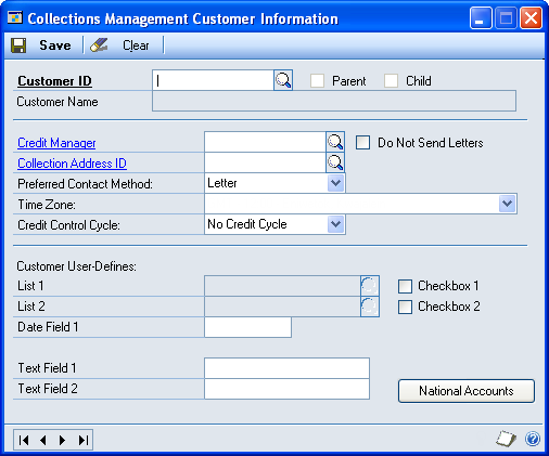 Chapter 2: Customers Use this information to enter customer information, create an action ID, and transfer customer accounts to different credit managers.