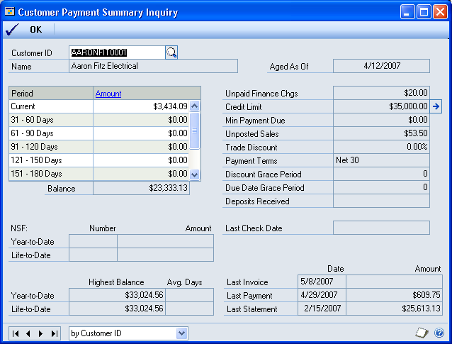 CHAPTER 5 COLLECTIONS INQUIRIES Viewing customer payment information Use the Customer Payment Summary Inquiry window to view payment information for a customer, including unpaid finance charges,