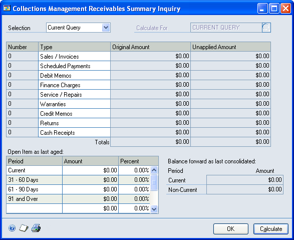 CHAPTER 5 COLLECTIONS INQUIRIES Viewing customer receivables information Use the Collections Management Receivables Summary Inquiry window to view summarized information by a credit manager, current