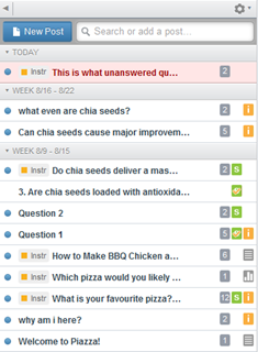 There are three types of Posts in Piazza: a) Question Posts to ask a question of individual students or the whole class, these posts will remain highlighted red in colour until marked with an answer.