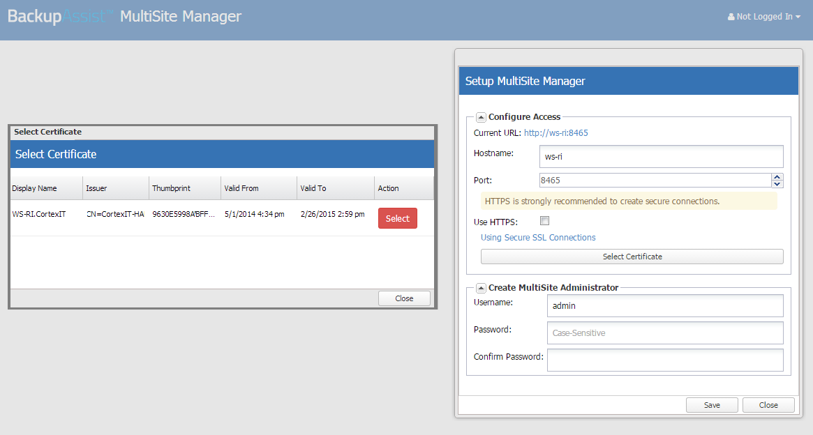 5. MultiSite Manager setup The first time you launch MultiSite Manager, you will be presented with a setup screen to create a Multisite Manager username and password, and an option to enable HTTPS