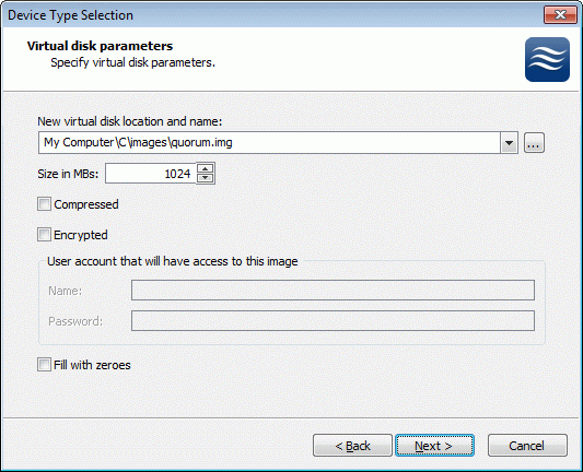 If you have decided to create a new virtual disk please specify the location and the name of the virtual disk you wish to be created. Also you have to provide the virtual disk size in megabytes.