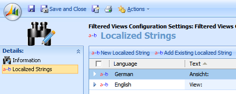 Configuring organization settings Once you see the new entities in the Settings area, create a new Filtered Views Configuration Settings record: The Name is not relevant but initialized to Filtered