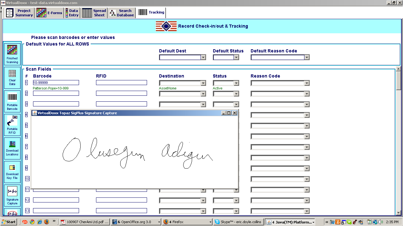 Tracking Screen / Electronic Signatures The tracking screen enables assets to be issued and transferred, by data entry or by reading bar codes or