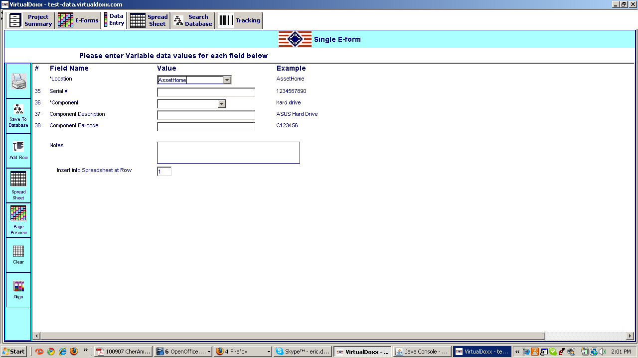 Example single-level data entry screen, for a component of an asset, that is linked to