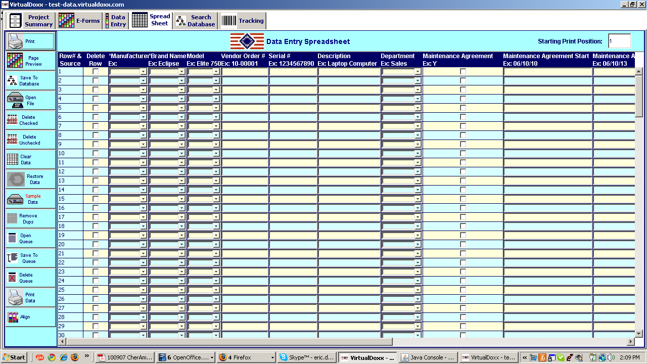 Data Import Screen The spreadsheet screen within Virtual Doxx enables database records to be imported from host applications or spreadsheets.