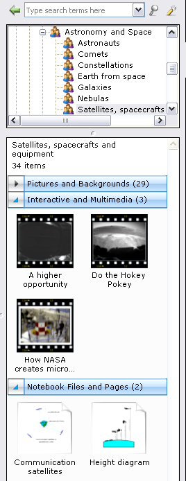 Basics for Notebook software Objects in the Gallery Objects are organized in the bottom area of the Gallery by Pictures and Backgrounds, Interactive and Multimedia, SMART Notebook Files and Pages,