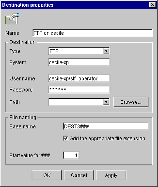 Configure the FTP destination in the Océ TDS/TCS Scan Manager Text box 'User name' 'Password' 'Path' Content to define Enter the user account name (local or domain).