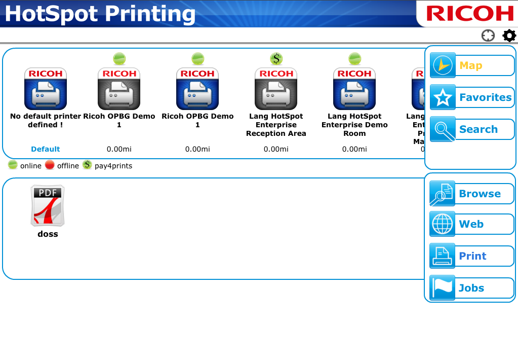 When the HotSpot Printing App is opened, the file is automatically displayed in the application.