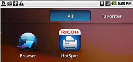 Quick Start To print a document, for example, from a BlackBerry PlayBook, proceed as follows: 1. On the device, navigate to the Ricoh HotSpot Printing App icon. Press to open the application.