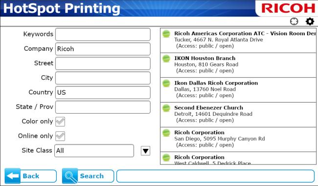 Note: If this is not the desired printer, press [Back] and repeat 4. 7. To select a printer, or set a default printer, press the printer icon. The Options menu appears. 8. On Options menu a.