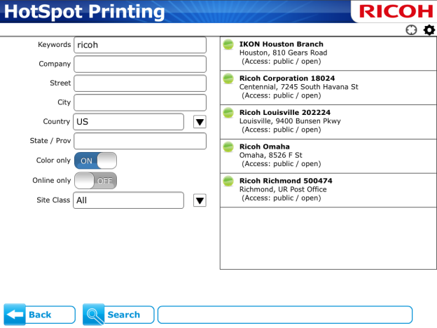 Behavior and Functions HotSpot Printing Application This section describes the functions and behavior of the HotSpot Printing App, such as the default home screen view, how to add a printer to the