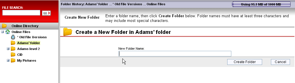 Folders you create You may also manually create online folders that are placed in Online Files. These online folders behave much the same way that folders behave on your computer.