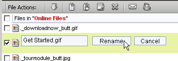 Illustration 74 Right clicking on file to open File Actions menu and selecting Rename Renaming The File An edit box will appear with the file's name inside.