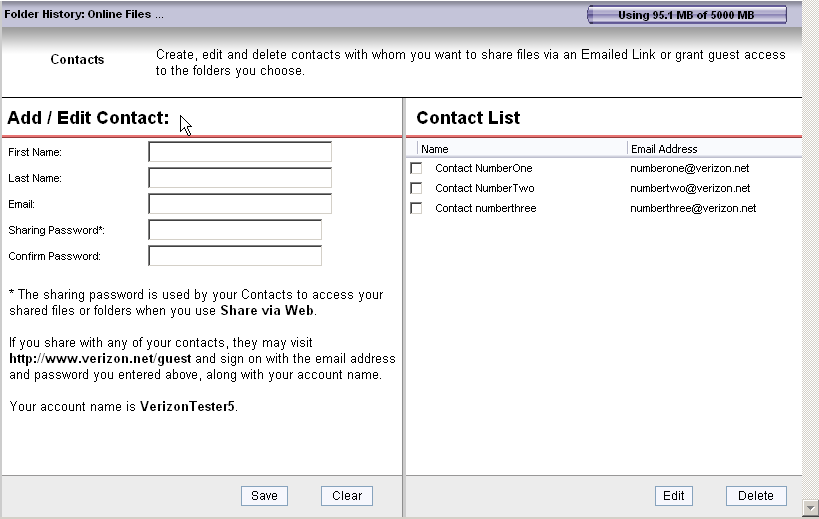 Add Contact Adding a Contact records their name, email and shared password information in your Contact List.
