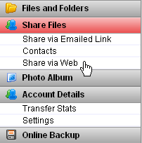 Illustration 108 Deleting a Contact Share via Web Share via Web is activated by clicking on the left panel bar with the Share via Web name on it. There is no main menu icon for this function.
