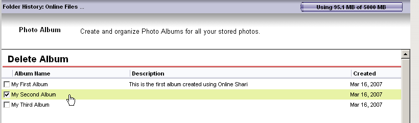 Illustration 126 Deleting a Photo Album that has been selected A list of your albums will display. Select the albums by checking the box to the left of the name. A check will appear in the box.