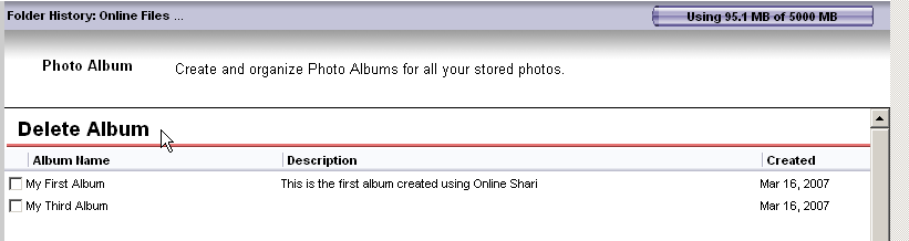 Illustration 128 Deletion confirmation The selected albums are deleted and no longer listed.