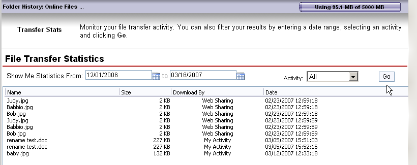Account Details - Transfer Stats File Transfer Statistics The top half of this page is dedicated to showing the history of files coming into and out of your online sharing space.
