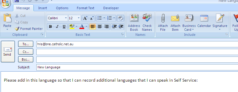 This will open up an email allowing you to enter your required language.