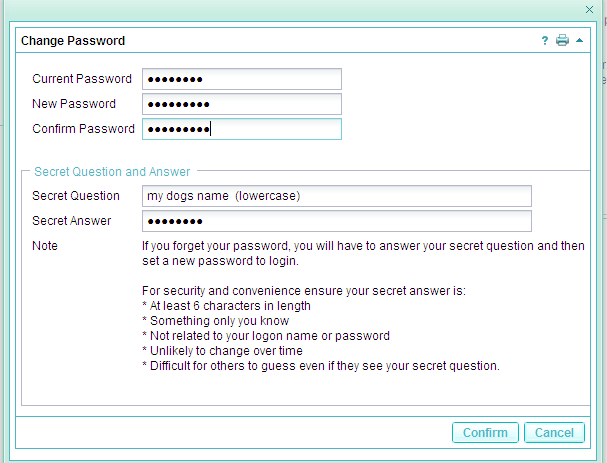 2.3 General Questions Q. How do I change my Password? A. Once you have logged into Self Service you will click onto Settings (top right hand side of the screen) then click onto Change Password.