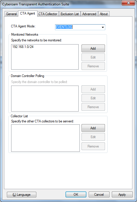 Configure CTA Agent Switch to CTA Agent tab and configure parameters as given below.