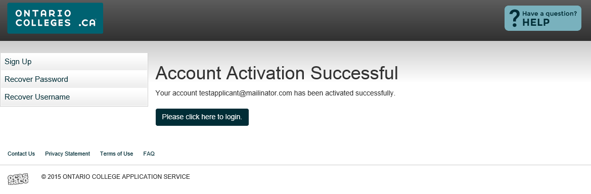 Successful Account Activation Once your account has been