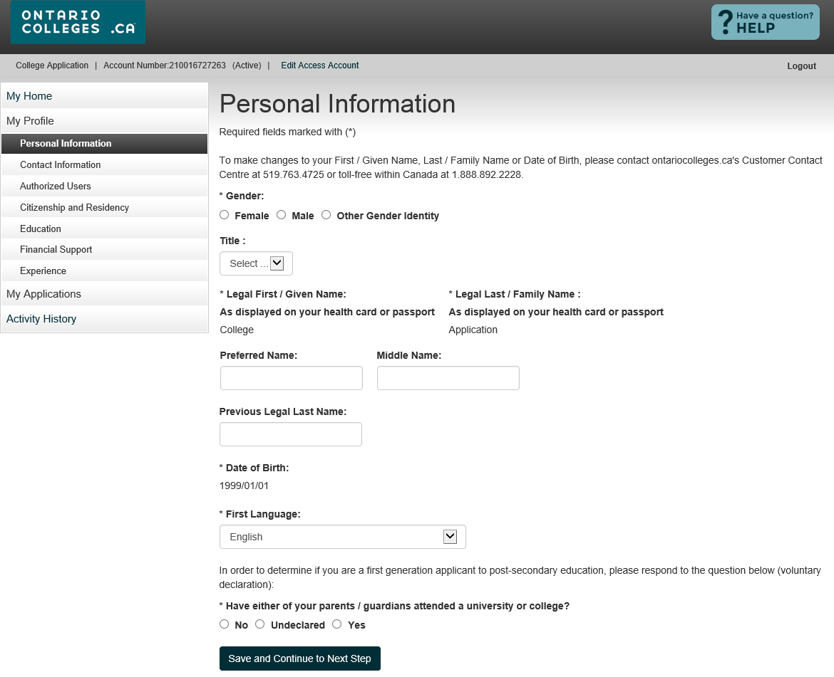 Personal Information Complete all required fields