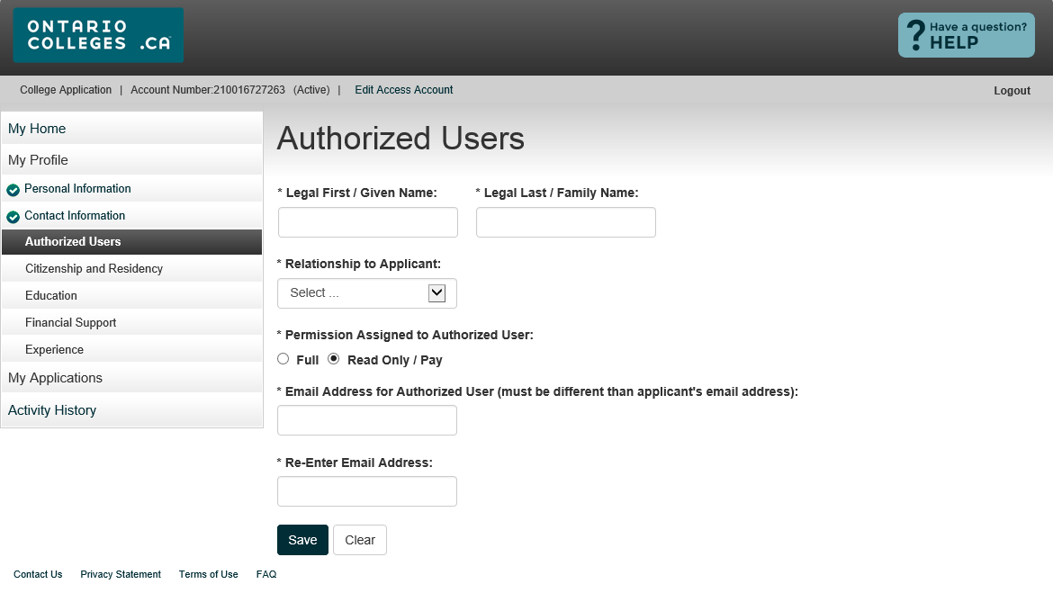 Add an Authorized User Full Access Authorized individuals may make payments AND changes to your application information.