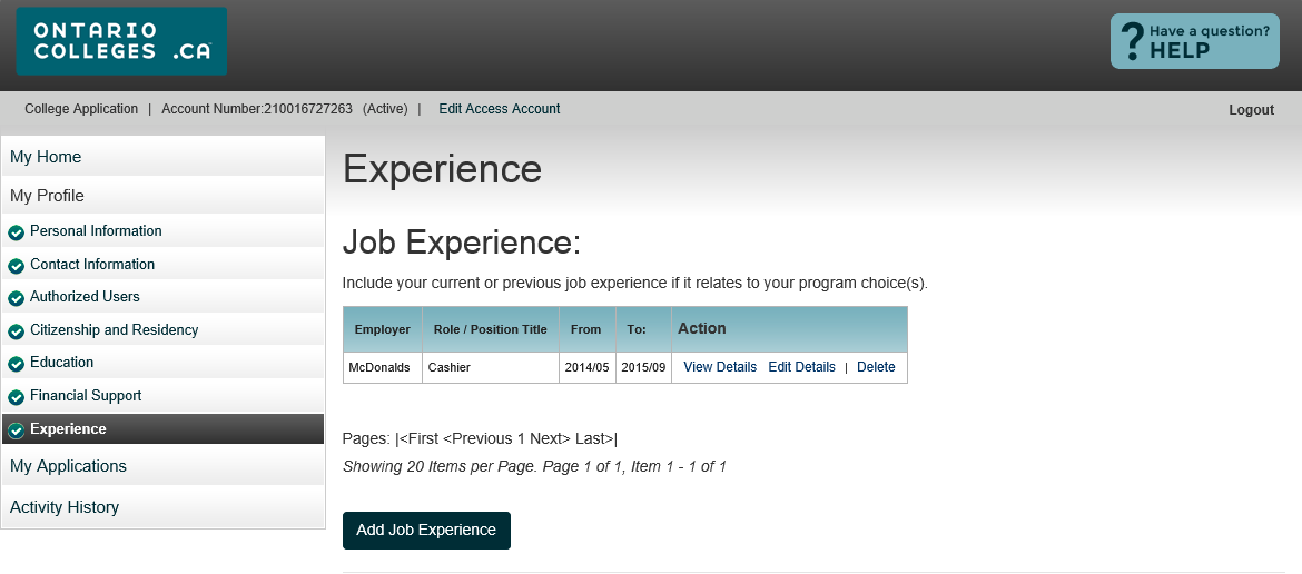 Experience Summary View Details view existing information Edit Details update