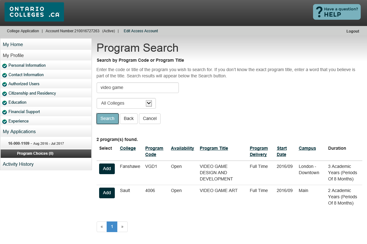 Program Search Results Make sure you select the correct Program Delivery,