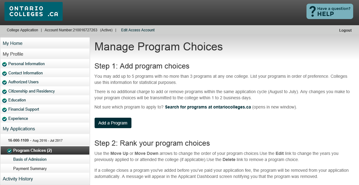 Manage Program Choices Click the Add a Program