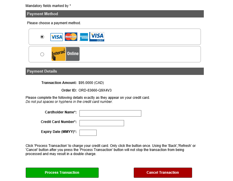 Secure Online Payment Credit Card (incl.