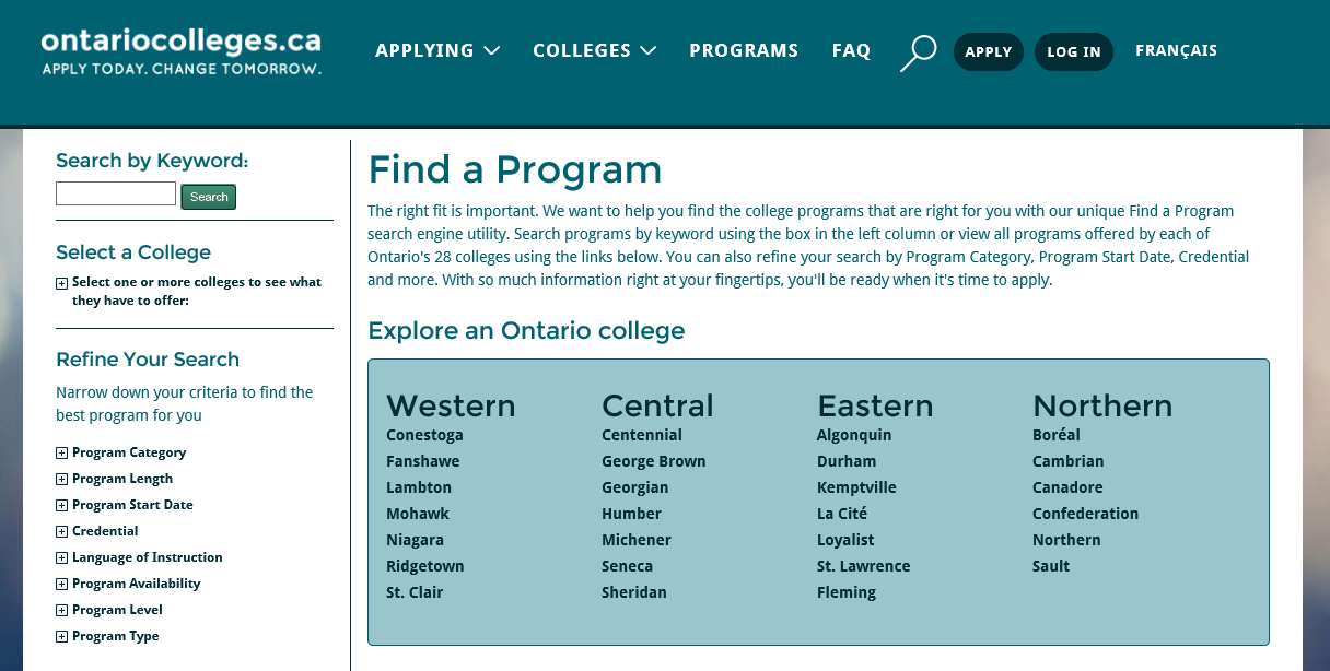 Search for Programs Go to ontariocolleges.