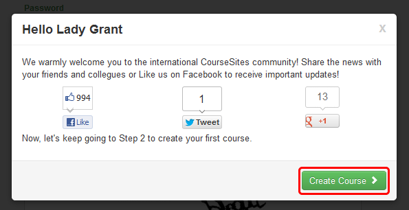 Creating a New Course After creating your new account, you will be taken immediately to a course creation page.