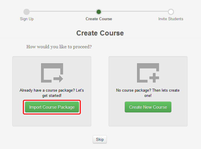 2a. Optionally, select the Import Course Package button to import a pre-existing