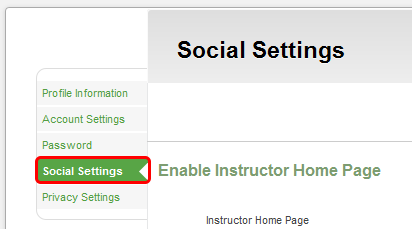 Managing Social Settings Control personal social settings within your CourseSites account. 1.