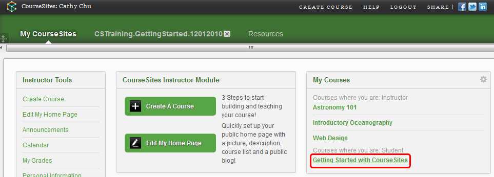 Accessing 'Getting Started With CourseSites' course 1.