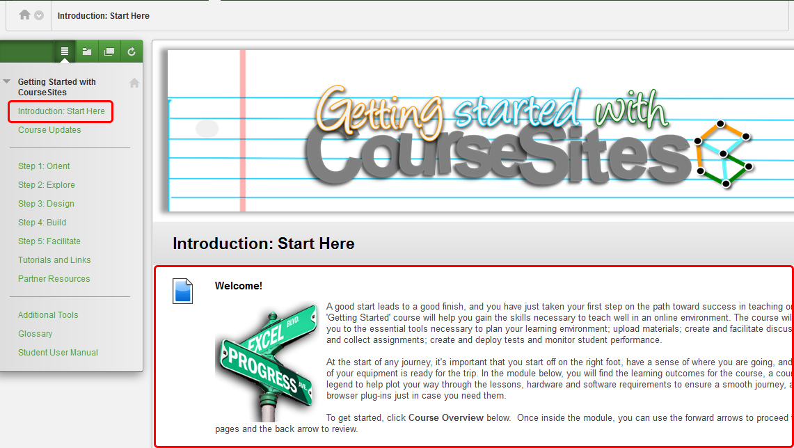 2. On the course landing page Introduction: Start Here, review the