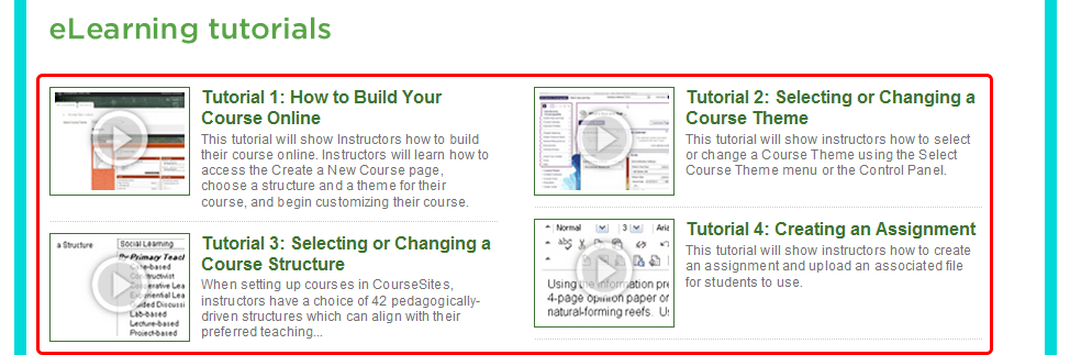 3. Scroll down to view the elearning Tutorials videos, also available