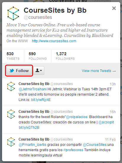 6. Click Follow to become a follower of CourseSites on Twitter.