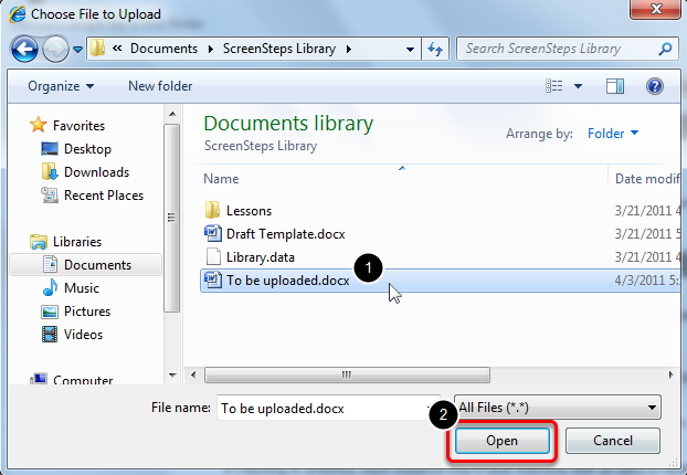 4. Select the Browse button and navigate to the desired file on your local computer or storage device.