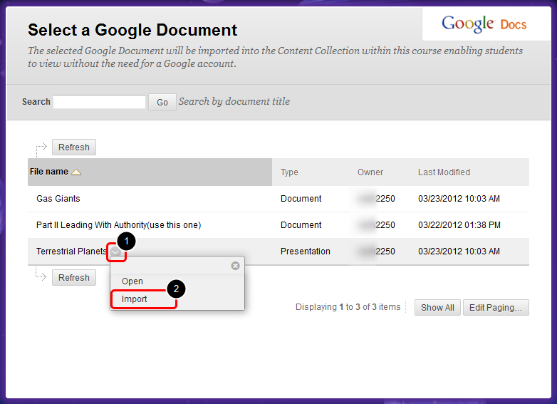 6. On the Select a Google Document page, expand the contextual menu next to the Google