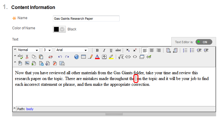 4. Place your cursor in the desired location where you'd like to display the link to the Google Docs.