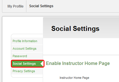Adding Social Networks to the Instructor Home Page Allow students or guest to view your social network sites (Facebook, Twitter and LinkedIn) by linking them to your Instructor
