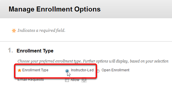 3. Expand the Manage menu, and then select Enrollment Options. 4.
