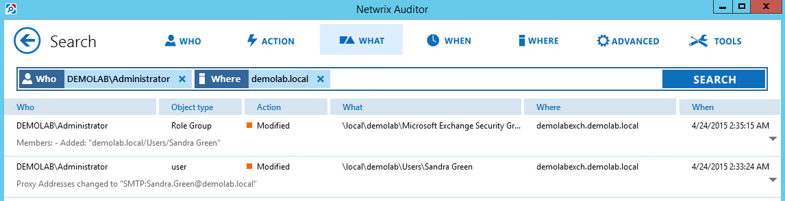 7. See How Netwrix Auditor Enables Complete Visibility Filter Value Specify your Active Directory domain where your Exchange organization is located.